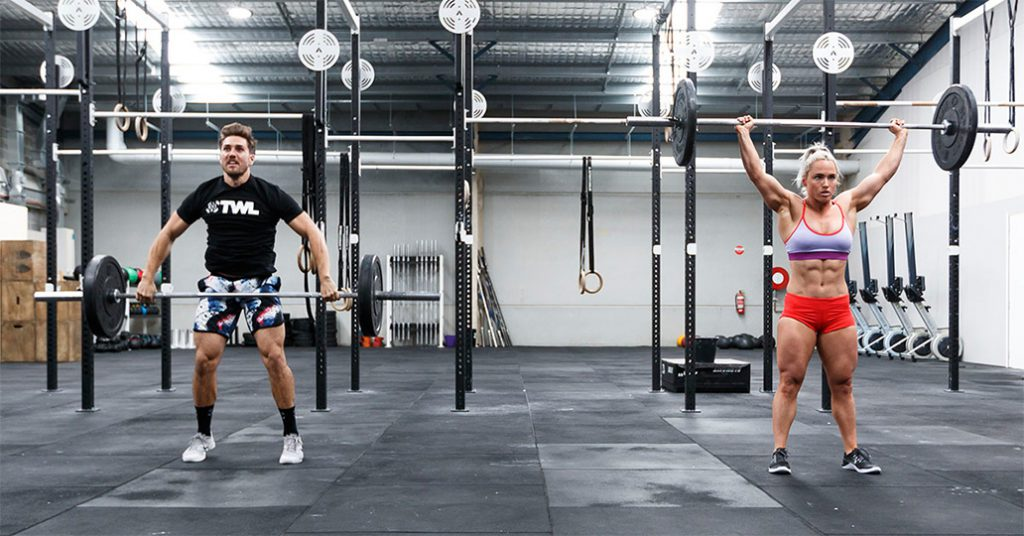 two athletes snatching
