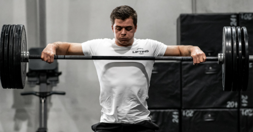 male athlete snatch high-pull