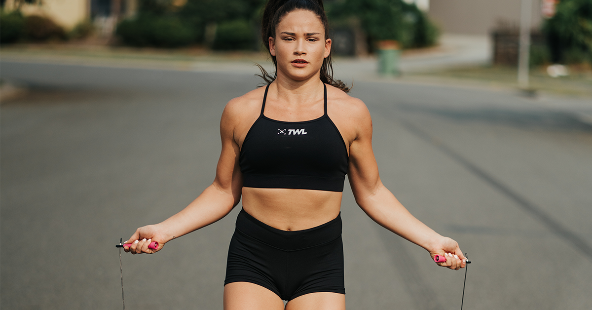 athlete using speed rope for double-unders