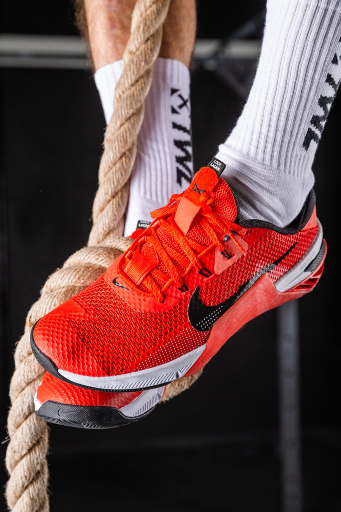 Nike Metcon 8 rope climbs in training shoes for functional fitness