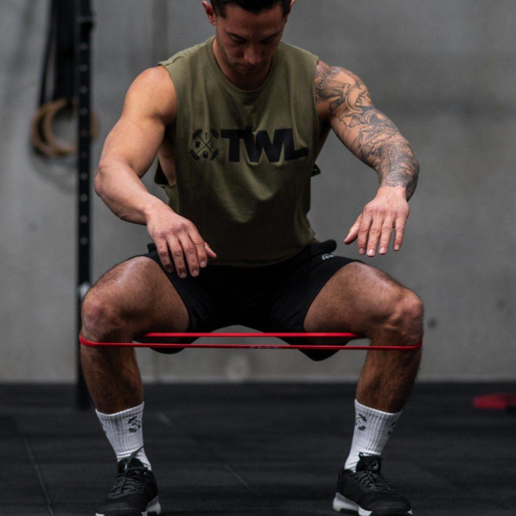 resistance band squat